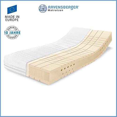 RAVENSBERGER TALALAY® Premium Latexmatratze 100% Naturlatex | 7-Zonen-Matratze H4 RG 66 (ab 120kg) | Made IN Germany - 10 Jahre Garantie | Baumwoll-Doppeltuch-Bezug | 140 x 200 cm