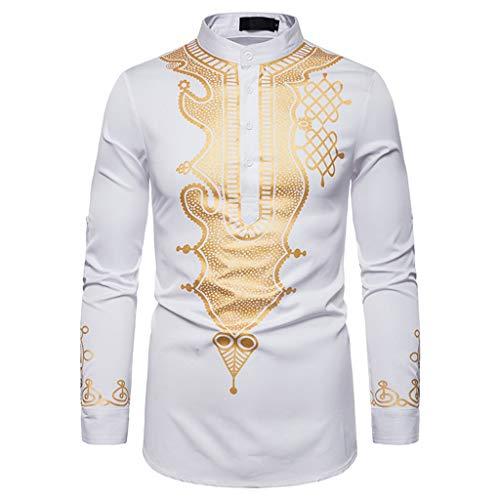 Realde Herren Lange Ärmel T-Shirt Retro Rundhals Ausschnitt Drucken Slim Fit Top Beiläufige Stil des Nahen Ostens Freizeithemd Bluse Männer Atmungsaktiv Bequem Oberteil