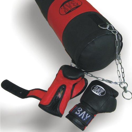 BAY® BOXSET Leder PU für Damen, Junioren, Kinder 8 Kilo fertig gefüllt, 85 x 25 cm, Box-Set Sandsack Boxsack + Boxhandschuhe, Kids Junior Teens, schwarz/rot, befüllt + Stahlkette, Box-Handschuhe