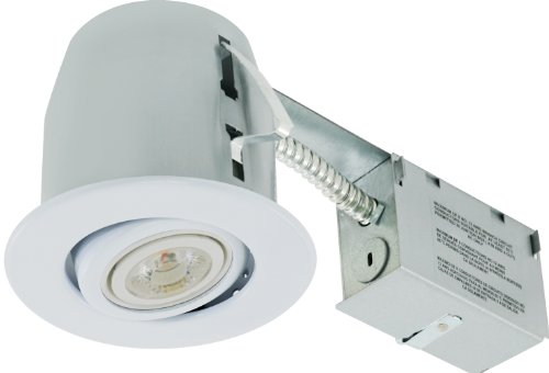 Liteline RC402C18R-LED-PW-FWH All-in-One 4-inch LED Recessed Combo with Remodel Housing, 8W LED PAR20 lamp, Gimbal Trim, Flat White