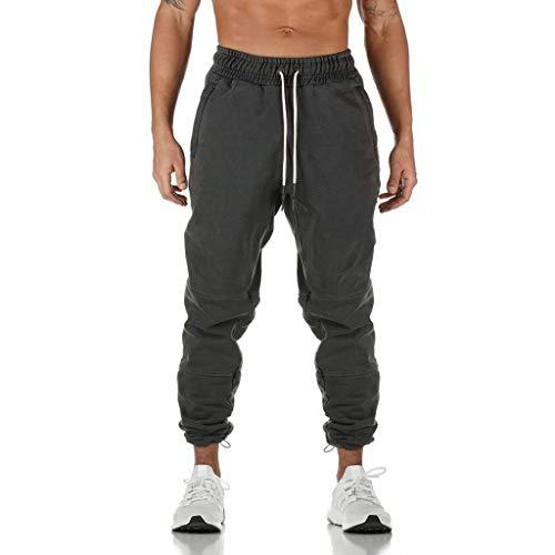 HDUFGJ Herren Hosen Sporthose Trainingshose Baumwolle Jogginghose Freizeithose mit Seitentaschen Jogginganzug Joggers StreetwearM(Dunkel grau)