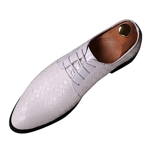 FNKDOR Schuhe Herren Spitz Geschäft Lederschuhe Lackleder Berufsschuhe Britischer Stil Gewebtes Muster Schnürsenkel Freizeit Kleid Schuhe Business-Schuhe Weiß 44 EU