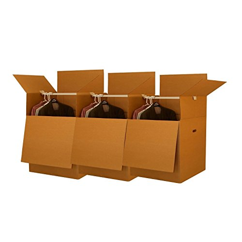 """UBoxes Space Savers Wardrobe Moving Boxes with Hanger 20"""" x 20"""" x 34"""" (3 Pack)"""
