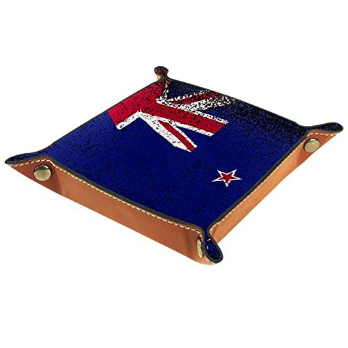 Bandeja de Juegos de Dados rodantes Plegable Bandejas de joyería cuadradas de Cuero y Reloj, Llave, Moneda, Caja de Almacenamiento de Dulces Bandera de Nueva Zelanda