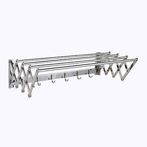 Serviette Rack Serviette Porte-Serviettes En Acier Inoxydable Créative Télescopique Serviette Pliante Rack (60/75 / 90CM) /salle de bains (Couleur : Bright silverB, taille : 75cm)