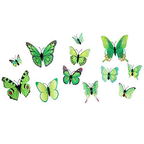 Wanddekoration Decor Decal, Wandtattoo, selbstklebende Tapete, für Zuhause, Wohnzimmer, Schlafzimmer, 36 Stück Kühlschrank-Magnetaufkleber 3D Schmetterling selbstklebend Home Wall Decor (Grün)