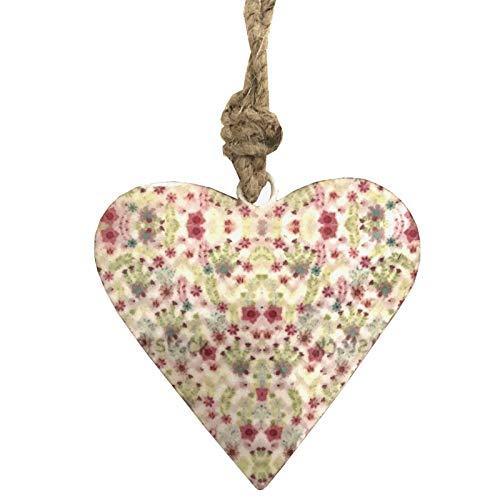 L'ORIGINALE DECO Cœur à Suspendre en Métal Fer Patiné Motifs Fleurs Blanc Émaille 8 cm x 8 cm