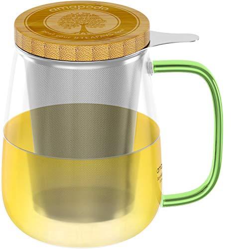 amapodo Teeglas mit Sieb und Deckel 700ml Teetasse groß aus Glas, XXL Trinkglas Set mit Henkel Grün, Glastasse plastikfrei