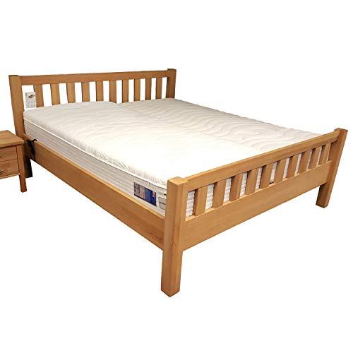 Vaja Komfort Massivholzbett extra hoch mit Kopf- und Fußteil Kernbuche 180x200