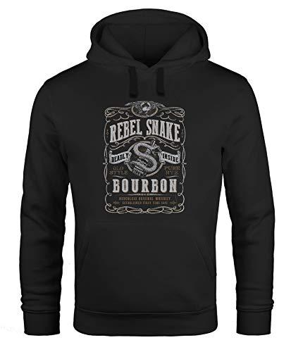 Neverless® Hoodie Herren Whiskey Emblem Rebel Snake Bourbon Retro Style Fashion Streetstyle Kapuzen-Pullover Männer schwarz XXL