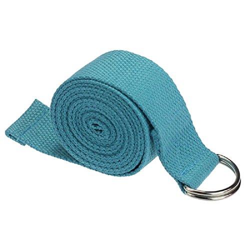 TOOGOO (R) - Cinturón ajustable con anilla en D para yoga y fitness, color azul, 180*3.8cm, Azul