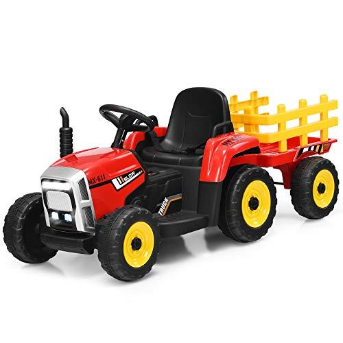 COSTWAY Tractor eléctrico para niños con remolque 12 V con control remoto de 2.4G - 3 velocidades con luces LED, música, bocina, funciones de audio USB y Bluetooth (rojo)