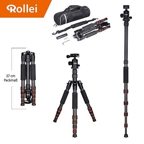 Trípode Rollei Traveler de Carbono en Negro con rótula de Bola - Compatible con cámaras DSLR y DSLM - Incl. monopie, Placa de liberación rápida Arca Swiss y Bolsa para trípode