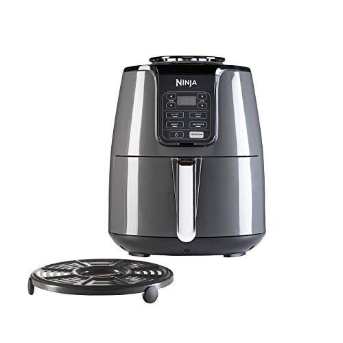 Ninja Air Fryer, Freidora sin Aceite [AF100EU] 4 funciones de cocción, Asar, Recalentar, Deshidratar y Freidora de Aire, Antiadherente, 3.8 Litros, 1500 W, Gris/ Negro