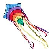 CIM Kinder-Drachen - Rainbow Eddy BLUE - Einleiner-Flugdrachen für Kinder ab 3 Jahren - 65x72cm - inkl. 80m Drachenschnur und 8x105cm Streifenschwänze