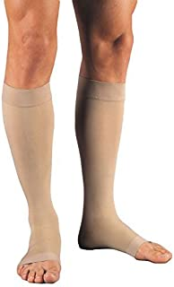 JOBST Relief Knee High Open Toe Compression Stockings,, Unisex, Extra Firm Legware for Tired and Heavy Legs, Compression Class- 30-40