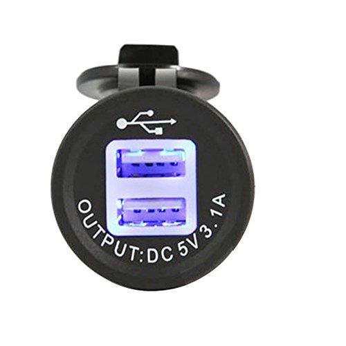 USB Steckdose 2 Port Einbau Auto RV Boots Motorrad USB Stecker 5V 3.1A Ladegerät Adapter 12V/24V KFZs für Navi, Handy, GPS mit Staubdicht/wasserdicht Cover