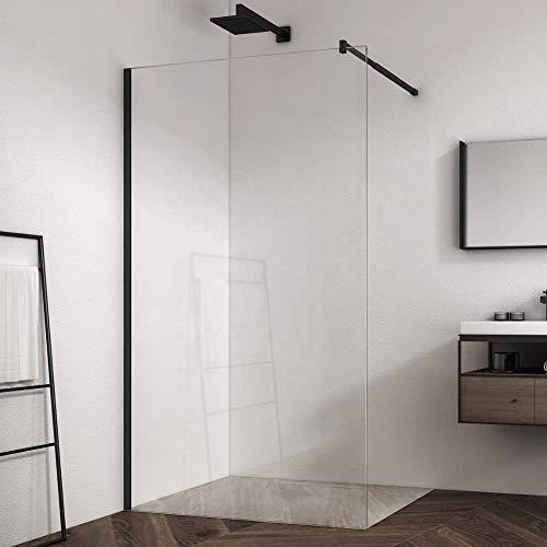 ZIK Cabina de ducha Walk In, un lado fijo, pared con cristal transparente frontal, perfil negro – 100 x 195 cm