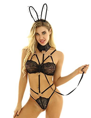 MSemis Disfraz Conejo Mujer Conjunto de Lencería Bikini Playboys Sexy Body Transparente Monokini Orejas de Conejito Collar 3Pcs Ropa Erótica Juego Roles Negro Talla Única