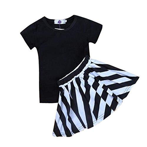 Diamondo 2 peças de camiseta para meninas + conjunto de saia listrada para crianças vestido de verão (3-4Y)