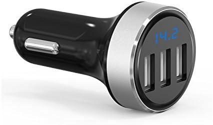 GRK® Nuevo Mini Cargador Inteligente QC3.0 iSmart Encendedor del Coche - Input: 12-24V - Output 5V, Puertos USB: 4.8A - Aleación de Aluminio - iSmart Tecnología (3usb Plata)