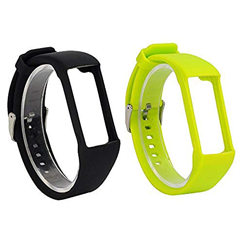 RuenTech 2Pcs Band for Polar A360 Replacement Bands, Soft Silicone Strap Sport Wristband Compatible with Polar A360 and A370 Fitness Tracker (Black&Lime)