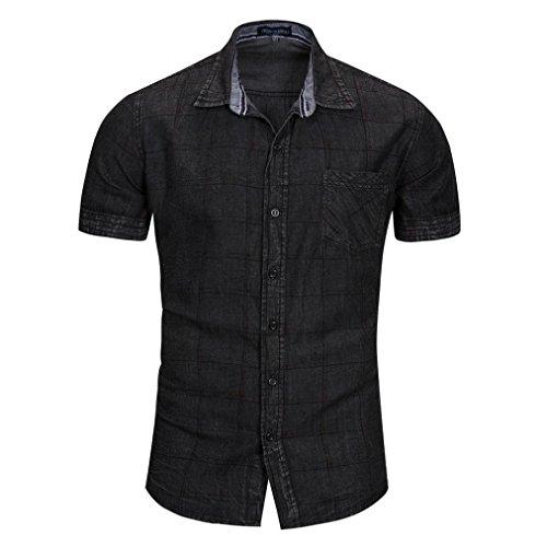 URSING Herren Hemd Jeanshemden Kurzarmhemd Regular Fit Denim Kurzarm Shirt Cowboy-Style Jeanshemd Sommer Freizeithemden Kurzarmhemd Herrenhemden Karohemd Trachtenhemd Sommerhemd (2XL, Schwarz)