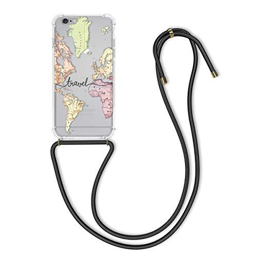 kwmobile Cover a Tracolla Compatibile con Apple iPhone 6 Plus / 6S Plus - Back Case in Silicone - Cover con Laccio Collo - Custodia con Cordino - Nero/Multicolore/Trasparente Mappa del Mondo