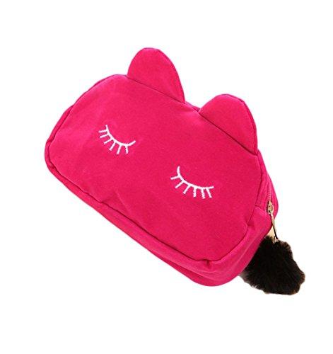 WeiMay 1pcs Haute Qualité Femmes Sac Pochette Sac Grande Capacité Sac De Rangement Mignon Chat Visage Cosmétique Sac Rose Rouge 19 * 5 * 12 cm