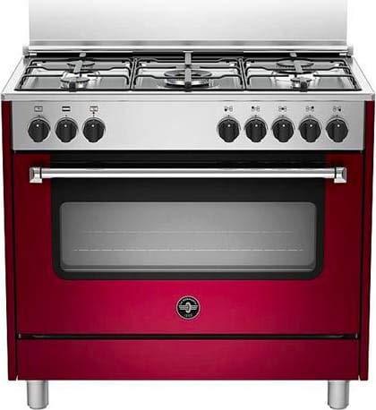 Cucina a gas con forno elettrico con grill, 90x60 cm, N° 5 fuochi, colore rosso