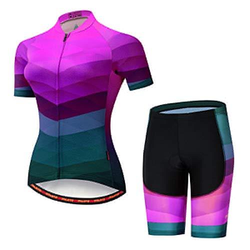 Jersey de ciclismo de mujer Juego de ciclismo de verano Ropa de ciclismo de ciclismo de niña BIB BIB pantalones cortos de bicicleta MTB Pantalones Traje Sport Wear (Color : Short 8, Size : Large)