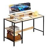 Jiandi パソコンデスク ゲーミングデスク 省スペース オフィス 机 コーナーデスク 棚付デスク 収納 学習机 勉強机 (Beech x Black)