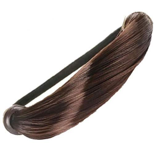 Perruque Cheveux Anneaux Faux Cheveux Porte-queue De Cheval Postiche Cheveux Bande Élastique Femme Elastiques Ponytail Wrap Accessoires Cheveux Pour Les Filles (brown)