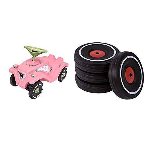 Big-Bobby-Car Classic Flower - Kinderfahrzeug mit Blumenaufklebern für Jungen und Mädchen & Bobby Car Whisper Wheels - Flüsterräder für Rutscher Autos, Reifen-Set mit Befestigungsclips