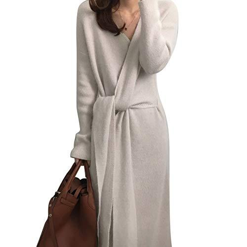 Huaheng Riem Cashmere Sweater Jurk Vrouwen Mode Kantoor Lady V Kneck Lange Mouw Gebreide Jurk Kleur: wit