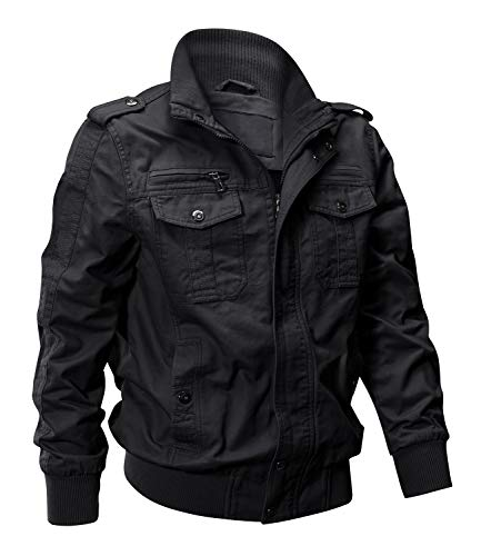 EKLENTSON Jacket Winter for Men Military Jacket Bomber Jacket Lightweight Windproof Windbreaker Black