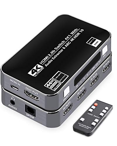 4k HDMI Switch 4x1 Audio Extractor, Tensun 4 Port HDMI Selector box with IR Remote 7.1 Optical SPDIF/Toslink/L/R 3.5mm Stereo Audio HDMI Switcher Supports HDMI 2.0 ARC HDCP 2.2 for PS4/Nintendo Switch