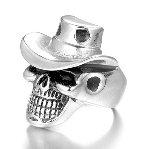 TnSok Stainless Steel Ring Men's Ring Metal Rock Punk Style Gothic Biker Ring Handsome Ring (Color : Silver, Size : 9)