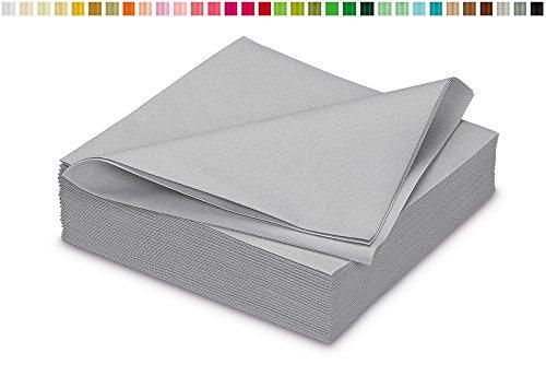 25 stoffähnliche Servietten 40x40cm in Premium Qualität ( hell silber / grau 012H ) // saugstark perfekt für Hochzeit Party Geburtstag