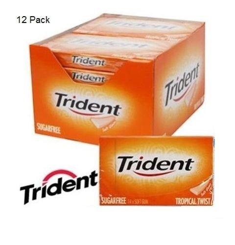 12 Confezioni x Tridente Torsione Tropicali Senza Zucchero Chewing Gum Pacchetti INTERA SCATOLA