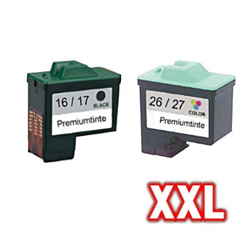 Juego de cartuchos de tinta compatibles (todos los colores) para Lexmark 80D2126 / 80D2952 (No. 16 + 26/17 + 27) X75M X75PrintTrio Z13 Z23 Z23E Z24 Z25 Z25L Z33 Z34