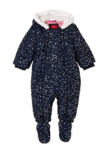 s.Oliver Unisex - Baby Overall mit Teddyplüsch-Kapuze Dark Blue AOP 92