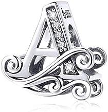Abalorio de plata de ley 925, diseño de letra Q, para pulsera o collar A