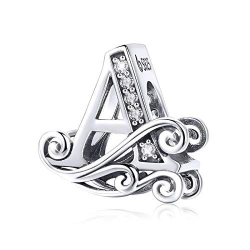 Ciondolo a forma di lettera Q in argento Sterling 925, per braccialetti, collane, ciondoli con lettere dell'alfabeto A
