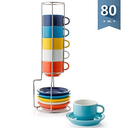 Sweese 404.002 6-teilig Stapelbare Espressotassen Set aus Porzellan, Kaffeetassen mit Untertasse und Metall Ständer, Bunte Serie, 80 ml