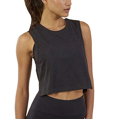 Bestisun Workout Crop Tops Workout Shirts Cropped Muscle Tank for Women with Back Mesh Black M