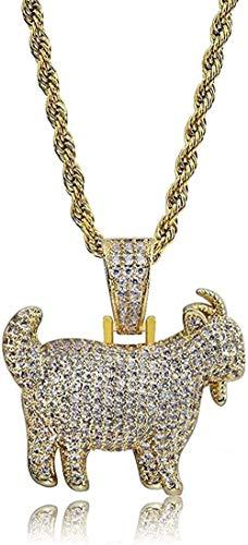 Collar, Collar, Brillante, Cabra, Animal, Colgante, Collar, encantos para Hombres, Mujeres, Oro, Plata, Color, circonita cúbica, joyería de Hip Hop