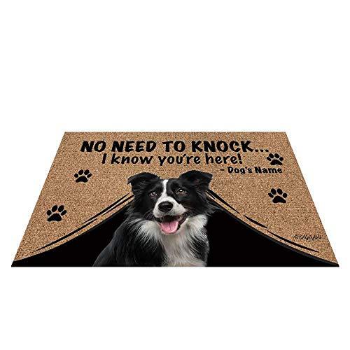 BAGEYOU Felpudo personalizado con nombre de perro con My Love Dog Border Collie Welcome Floor Mat No Need to Knock I Know You