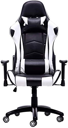 Sedia da gioco in stile corsa con schienale alto in ecopelle sedia per computer Executive ergonomica girevole poggiatesta supporto lombare (colore : nero, dimensioni: piedini in nylon)