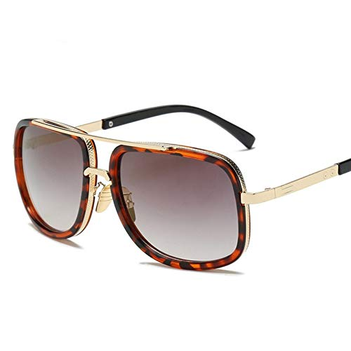 Gafas de Moda Gafas de Sol clásico Plana Espejo Espejo de Sol Gafas cuadradas Oro Macho Hembra Superestrella de Gran tamaño Hombres Gafas de Sol Mujeres (Color Name : B)